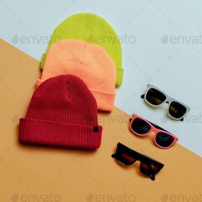 Bright urban. Set hats and glasses. Skateboard fashion