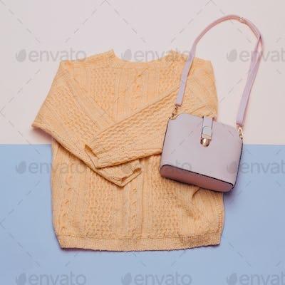 Stylish female clothes set. Woman / girl outfit on stylish backg