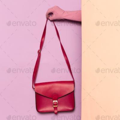 Stylish clothes. Fashion accessory. Red bag. wardrobe ideas tren