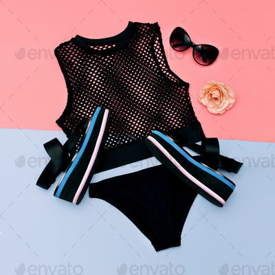 Stylish clothes. Sandals on the platform. Top mesh and black pan