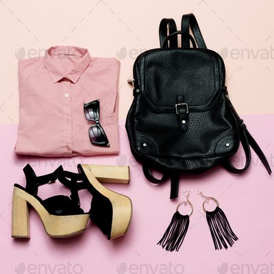 Stylish Lady Outfit pink shirt and black accessories, fashionabl
