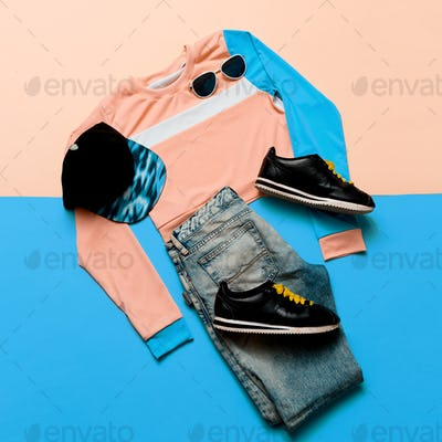 Fashionable Sports Jacket and Jeans. Sneakers Hipster. Pastel Su