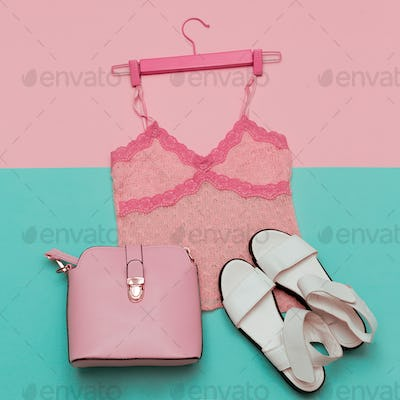 Romantic Summer Outfit Top and shoes for Ladies. Fashionable bag