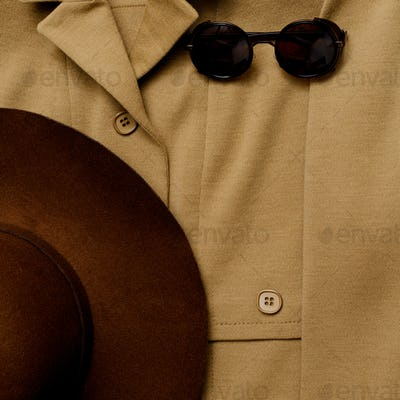 Vintage outfit hat and sunglasses. Autumn style
