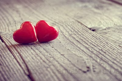 Two valentines day hearts in love