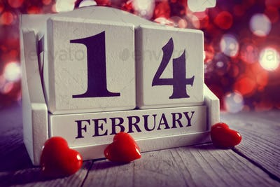 Valentines day calendar showing14  February