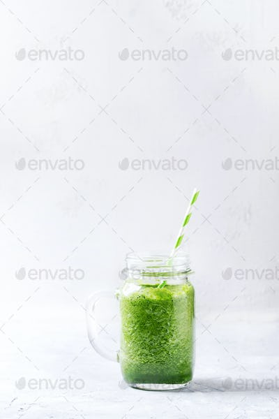 Jar of green smoothie
