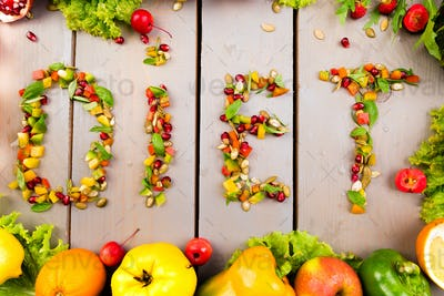 Word diet is made from fruite and vegetables.