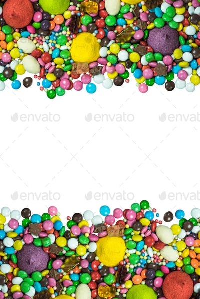 Vibrant sweets frame background isolated on white