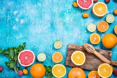 Ingredients for refreshing healthy exotic juice