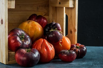 Ripe fresh tomatoes in wooden harvest box