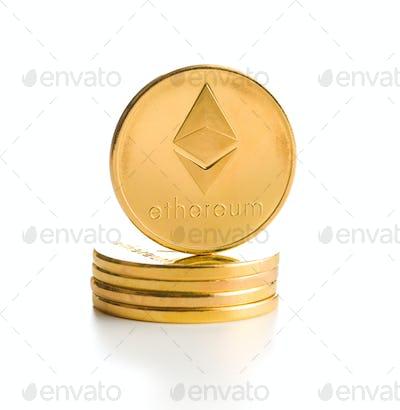 Ethereum. Digital cryptocurrency.