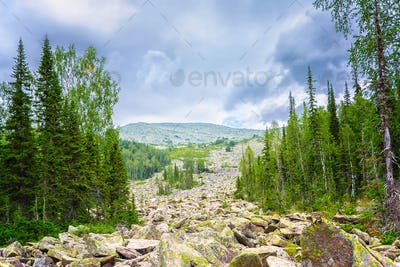 Conglomeration of rocks in the mountains, Siberia