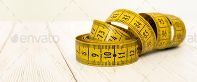 Health, diet concept - tape measure banner