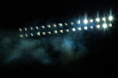 Stadium lights against dark night sky