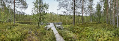 Finland panoramic landscape with forest and lake. Finnish environment. Horizontal