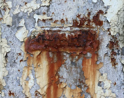Rusty iron with old peeling paint