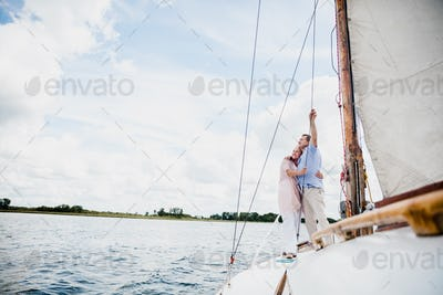 Retired marriage sailing on the lake.