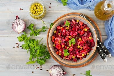 Beet Salad - Vinaigrette. Vegan cuisine. Dietary menu. Top view.
