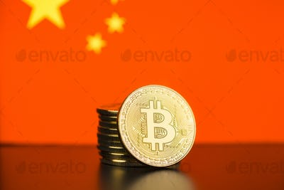 Golden bitcoins and chinese flag.