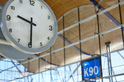 Indoor airport information watch. Departure gates. Travel background. Time. Horizontal