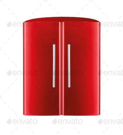 American style fridge freezer isolated on white