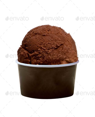 Scoop of chocolate ice cream in bowl on white background