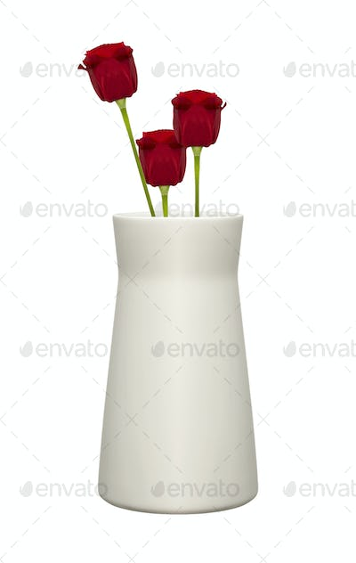 Red Roses in Vase isolated over white