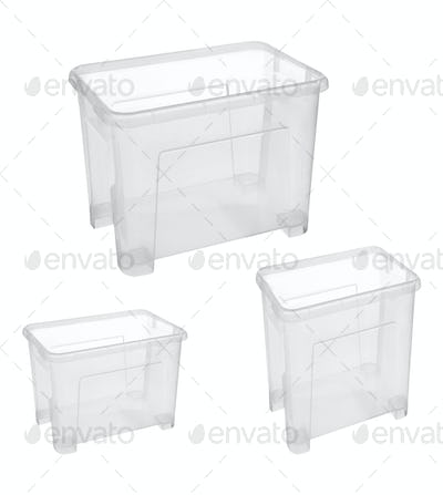 Set of plastic household baskets for storage