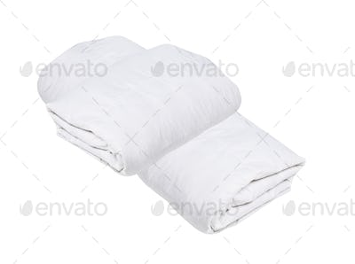 Rolled white duvet cover on white isolated background