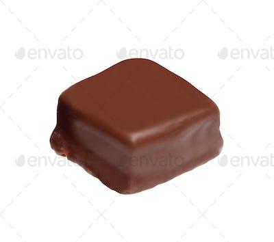 chocolate praline on white background