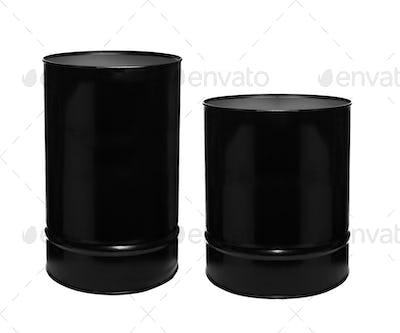 Black barrels on a white background