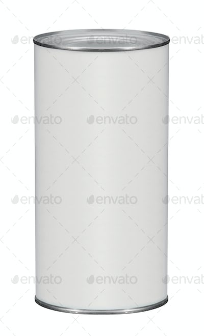 white tin can on white background