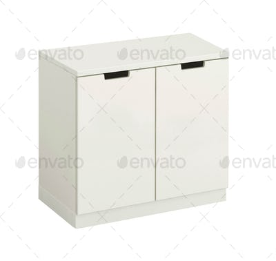beautiful white wooden modern cupboard isolated on white