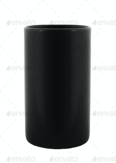blank black plant pot isolated on white
