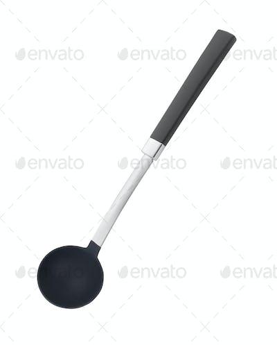 Plastic black soup ladle
