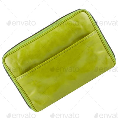 leather tablet computer bag on a white background
