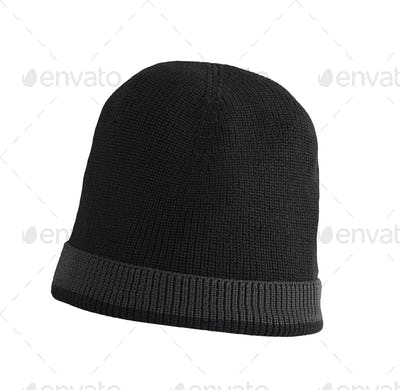 black woolen winter hat