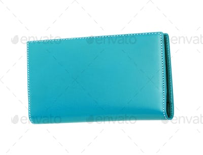 blue leather case isolated