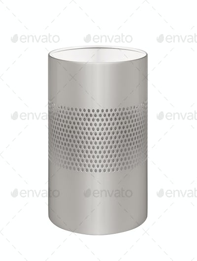 metal trash can isolated on white background