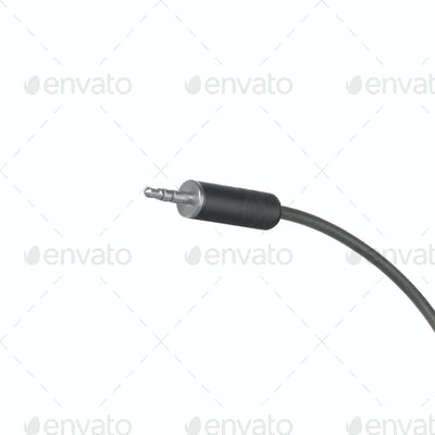 audio jack with black cable isolated