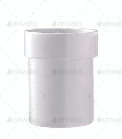 White plastic pot isolated on white