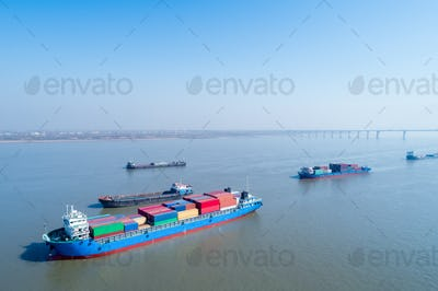 container ships closeup on yangtze river
