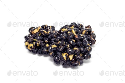 Korean traditional sweet snacks with black soybeans, isolated on white