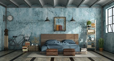 Grunge mastern bedroom in industrial style