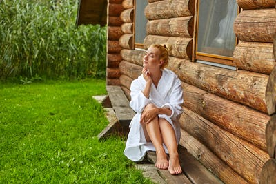 beautiful girl relaxing after sauna