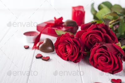 Beautiful red rose and dark chocolate for valentine day for Valentine's Day