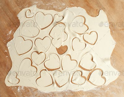 Valentine's Day concept - uncooked cookies hearts