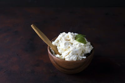 Homemade cottage cheese in a bowl