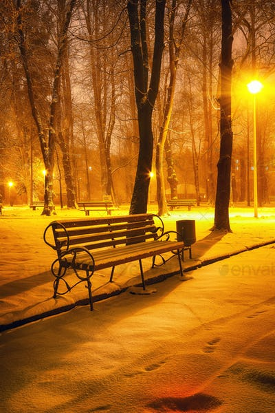 Winter evening in a central park